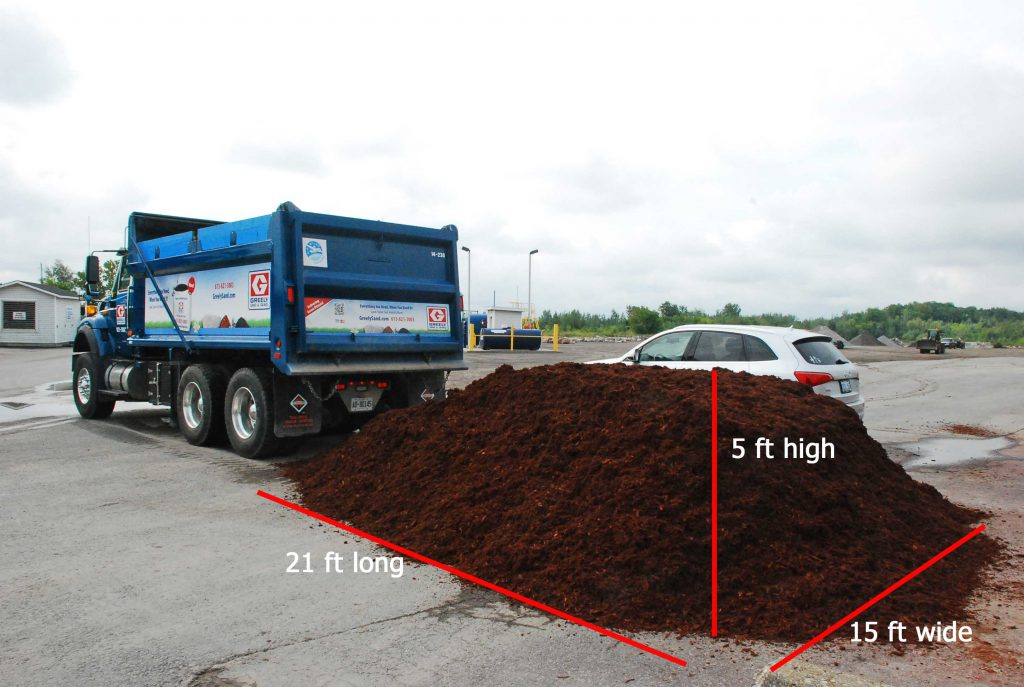 Mulch tandem load with dimensions