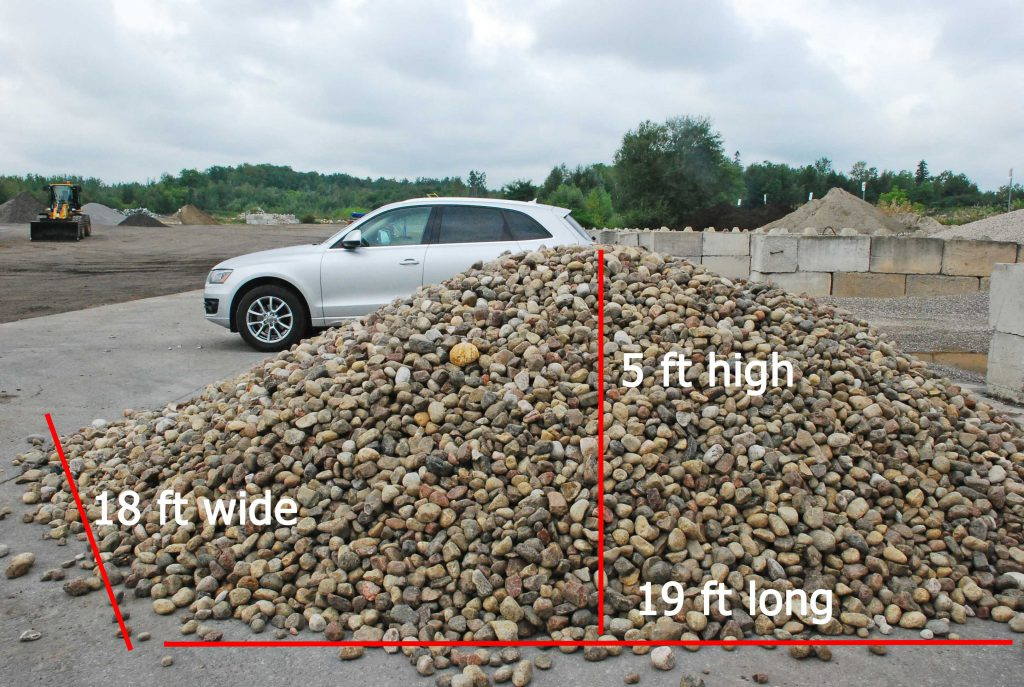 River stone load with dimensions