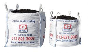 Comparative image of a full yard and half yard Greely's Gardening Bag.
