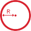 An image of a circle demonstrating what radius is.