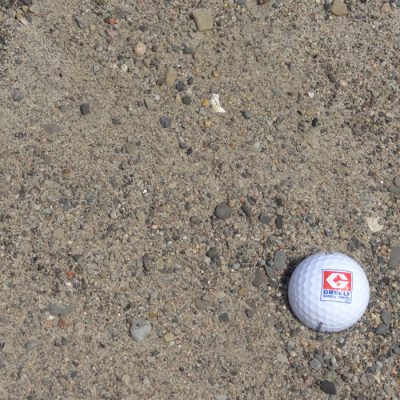 Greely Sand & Gravel Washed Mantle (Septic) Sand with golf ball for size