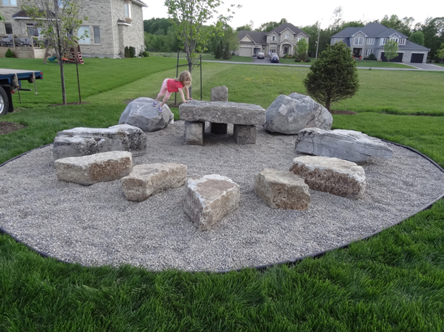 Ottawa playground installation greely sand gravel for Natural rock landscaping