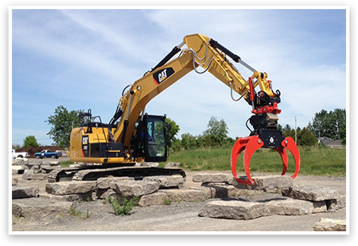 Excavator rental with Rototilt Indexator
