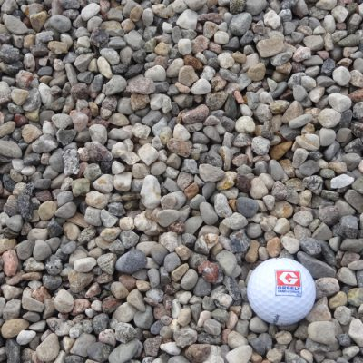 "Greely Sand & Gravel 3/8""-5/8"" Coloured Riverwash Stone with golf ball for size"